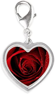 Silver Heart Charm Red Rose