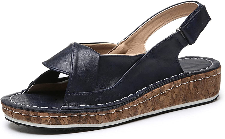 Women's Outdoor Cross Vamp Open Toe Ankle Strap Wear-Resistant Outsole Non-Skid Rest Platform Wedge Sandals