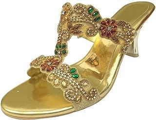 Women Evening Sandals Ladies Low Heel Diamante Wedding Party Jutti Shoes
