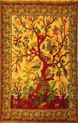 Lotus Moon Baum des Lebens Natur Wandkunst Einzel Bett Sofa Überwurf Bettdecke Boho Yoga Wandbehang Grün Rot Orange Blau Weiß - Orange, 100% Baumwolle