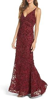 Xscape Women's Long Velvet Soutache Dress