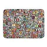 LKCDNG Alfombra de baño N2 Alfombra Antideslizante,Collage Abstracto Hecho de Recortes de periódicos Alfabetos esquejes Diversidad Carta Imagen,Alfombras Modernas de baño Suave 29.5'X 17.5'