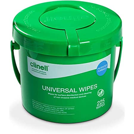 Clinell Universal Cleaning and Disinfectant Wipes Bucket - Pack of 225 - Multi Purpose Wipes, Kills 99.99% of Germs, Effective from 30 Seconds