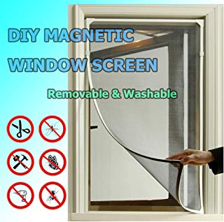 Adjustable DIY Magnetic Window Screen fit windows Up to 48x40 Inch Removable&Washable