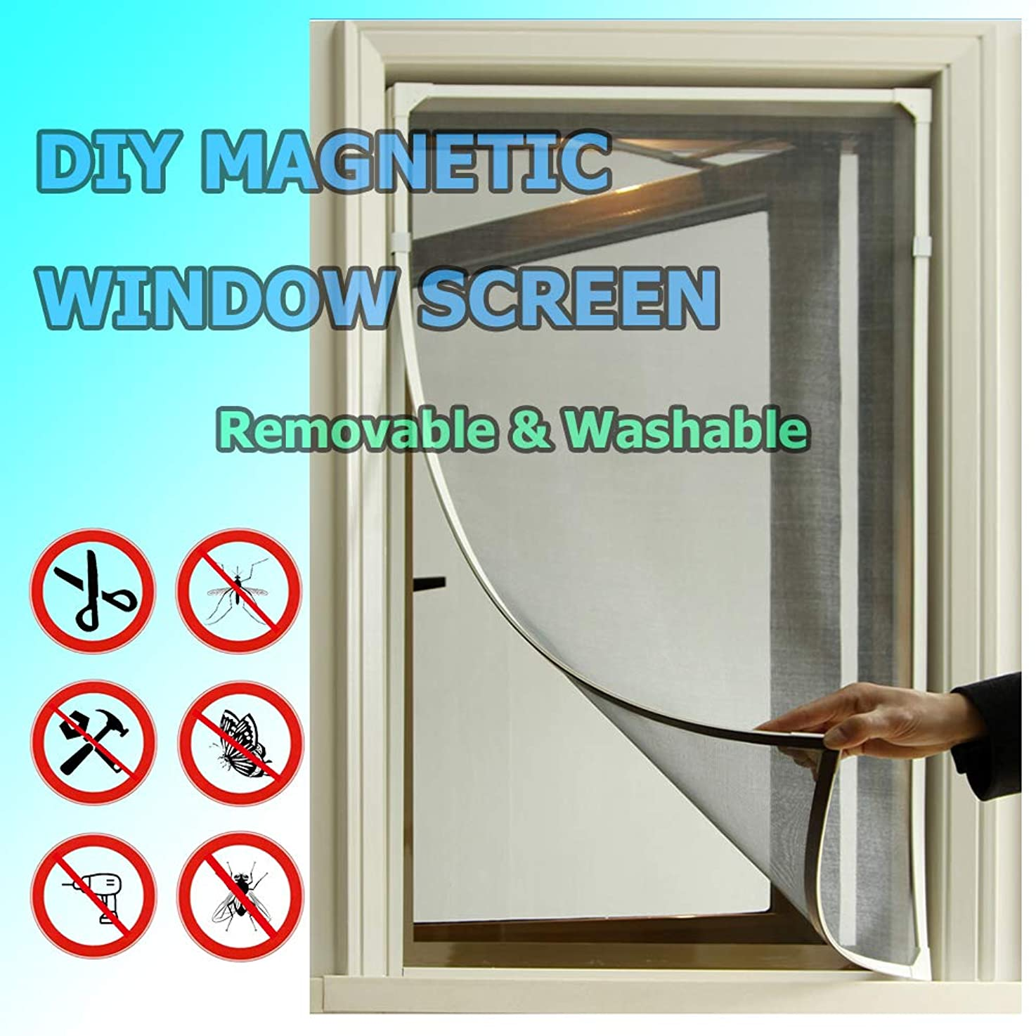 Adjustable DIY Magnetic Window Screen fit windows Up to 48x40 Inch Removable&Washable eibdywcsvawva7