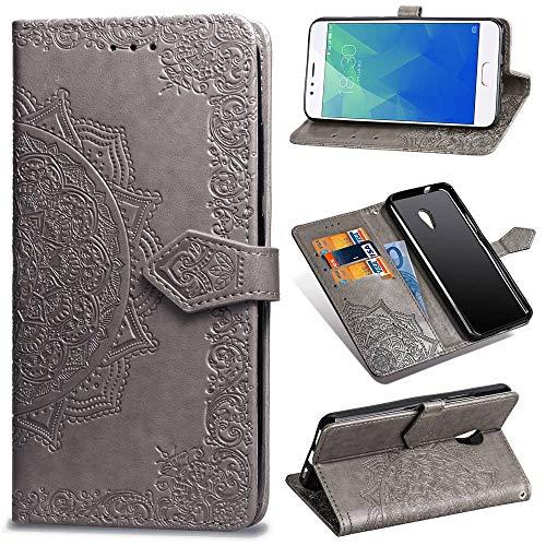 Ycloud PU Leder Tasche für Meizu M5S Kunstleder Wallet Flip Case mit Standfunktion Kartenfächer Entwurf Mandala Prägen Grau Hülle für Meizu M5S