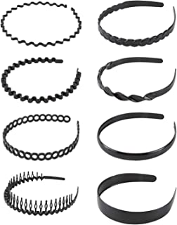 8 Pack Women Plain Black Thin Hard Plastic Hair Hoop Hair Hand Headband Holder Clasp Comb With Teeth Crown Tiara Headpiece Accessories DIY