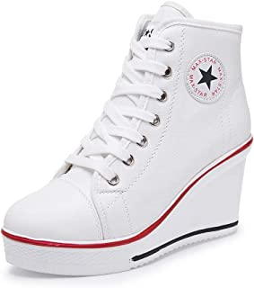Sokaly Women's Sneaker High-Heeled Canvas Shoes High-Top Wedge Sneakers Platform Lace up Side Zipper Pump Fashion Sneakers