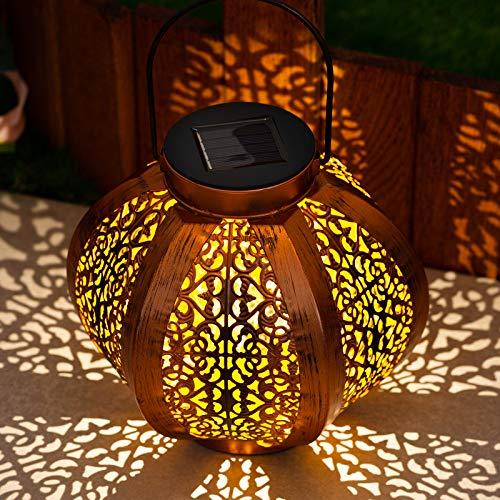 GloBrite Solar Lantern Light - Outdoor Hanging Garden Lights Metal Lamp for Patio, Outside or Table (Copper)