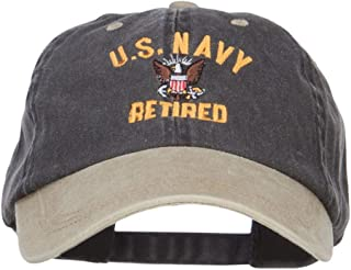 US Navy Retired Military Embroidered Two Tone Cap