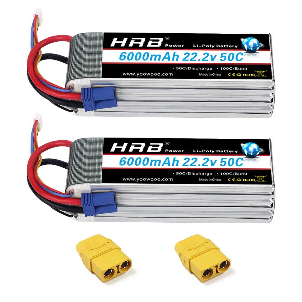 2 Baterias LIPO 22.2v 6000mah 50C 6S XT90 Plug HRB