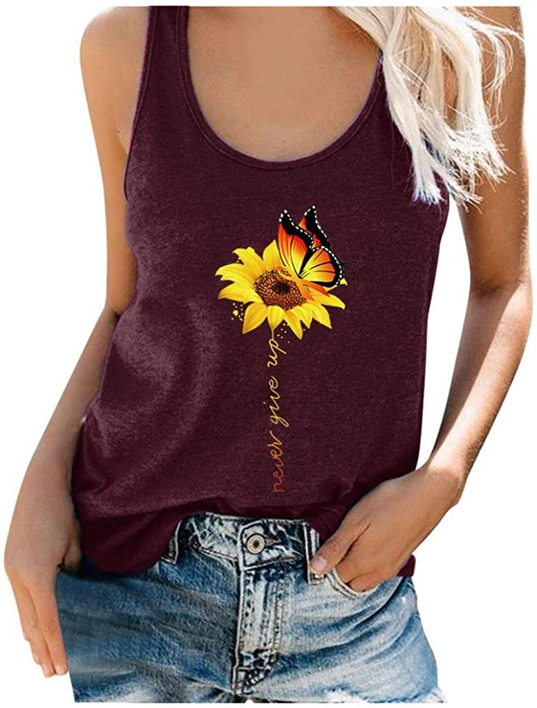 Womens Tank Tops Casual Summer, Womens Crop Tops Fashion Graphic Printed Sleeveless Blouse Loose Fit Shirts