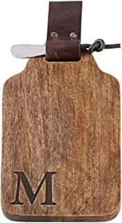 Mud Pie M Initial Wood and Leather Bar Board Set, Brown, 6