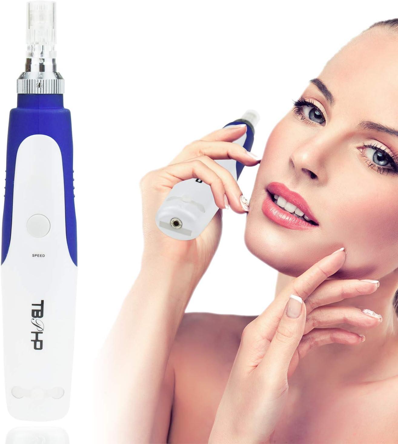 TBPHP Derma Pen Microagujas Agujas sello 0.25 mm-2.0 mm ajustable (profesional dispositivo principal + 2 pcs 12 Aguja láser) Azul