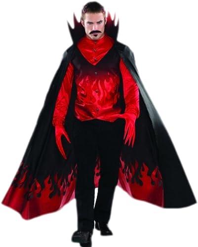 Fancy Ole - Herren M er Teufel Diablo Kostüm mit Hemd Weste Umhang und Handschuhen, 2XL, Rot