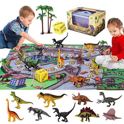 Mingfuxin Dinosaur Toys Figure with Activity Play Mat & Trees, Educational Dinosaur Playsets to Create a Dino World Including T-Rex, Triceratops, Velociraptor for Kids, Boys & Girls (Dinosaurs)