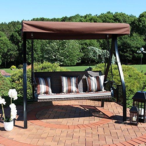Sunnydaze 3-Seat Deluxe Outdoor Patio Heavy Duty Canopy Swing
