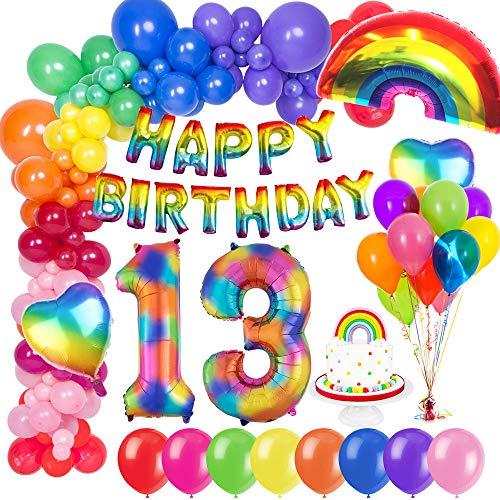 MMTX 13. Geburtstag Dekorationen, Geburtstag Party Deko geburtstagsdeko mit Happy Birthday Ballons Banner, Zahlen Luftballons, Regenbogen Herz Folienballons und Kuchendeckel für Kinder Mädchen Jungen