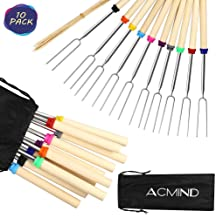 Acmind Marshmallow Roasting Sticks 32 Inch,10 Bamboo Skewers,Kids Camping Accessories for Campfire Fire Pit Cooking,Hot Dog Extending Stainless Steel Fork,Set of 10