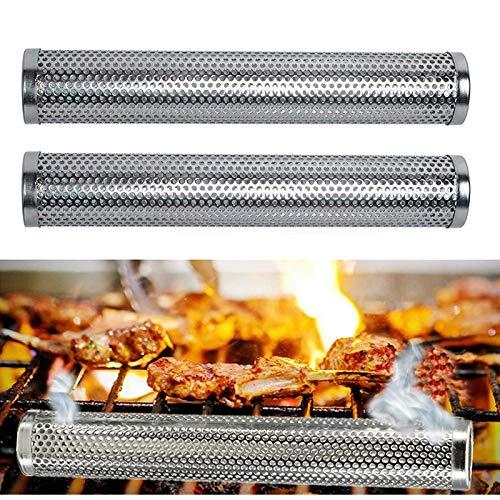 Poweka Räucherröhre aus Edelstahl 12''(30cm) - Zubehör für Küche Kochen Gasgrill und Kohlegrill 2 Stück