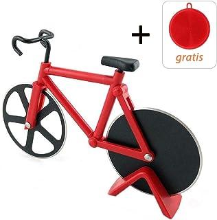 Zonyee Corta Pizza Bicicleta, Bicicleta de Bicicletas Ruedas de Corte, para Cocina, Boda, Fiesta de Cumplea?os o la Navidad de Regalo, Rojo
