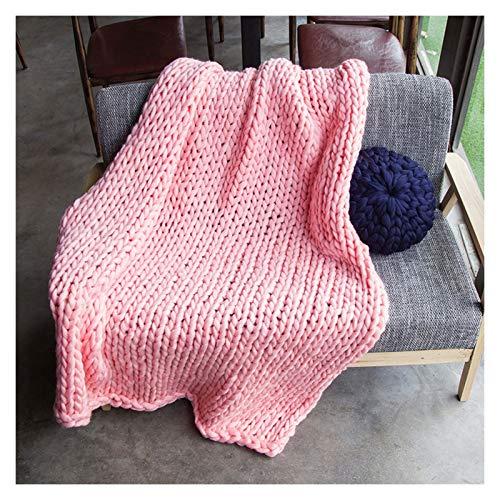 WCX Manta De Poliéster De Punto Grueso Hecha A Mano para El Sofá para Mascotas Suave De Punto para Cama O como Decoración (Color : Light Pink, Size : 100x150cm)