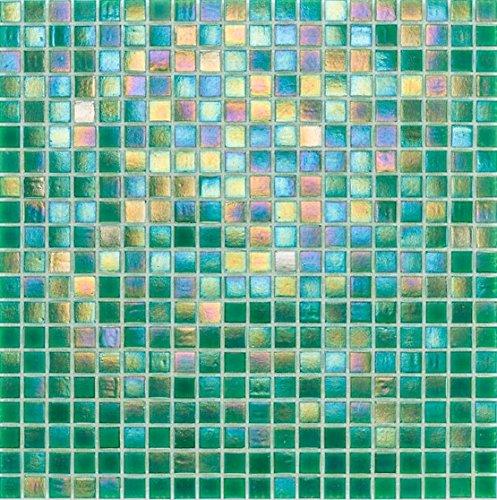 Glasmosaik Fliesen grün perlmutt Wand Boden Dusche WC Küche | 10 Matten | ES-02753_f