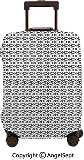 Travel Luggage Cover Dustproof Suitcase,Minimalist Simple Abstract Fish Pattern Retro ful Modern Monochrome Black and White,23.6x31.9inches,Cover Suitcase Protector Carry-On