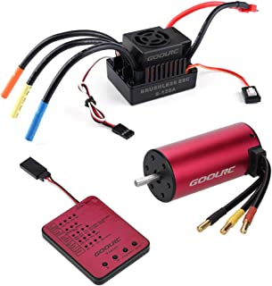 GoolRC S3674 2650KV Sensorless Brushless Motor 120A Brushless ESC and Program Card Combo Set for 1/8 RC Car Truck