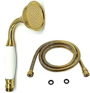 HOMEDEC New Brass Ceramics Telephone Handheld Shower Head with Hose Retro Style Gold Finish(Without Shower Head Holder (Shower Head + Hose, Gold)