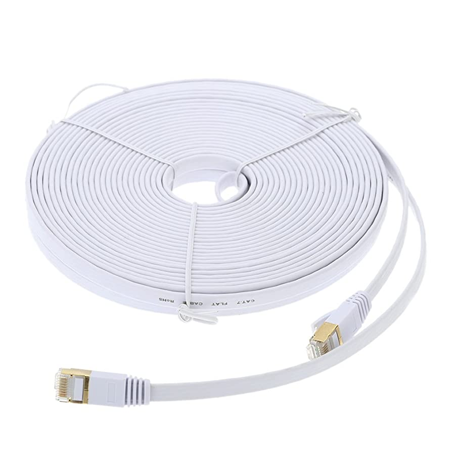 Antkeet 10m 30ft CAT7 High-Speed LAN Cable SSTP Flat Slim Ethernet Network Cable Gold Plated 10Gbps 60Mhz White