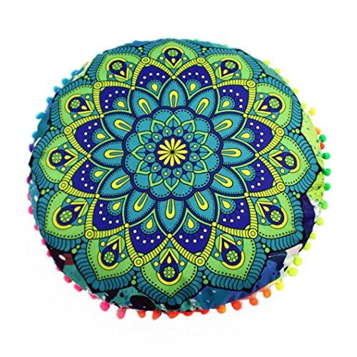 Coussin de sol rond Viahwyt avec housse - Motif Mandala indien - Style bohème, Polyester, F, 43*43cm/(17.0*17.0\
