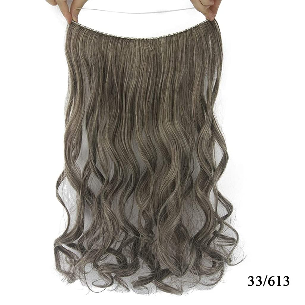 ルート買い手樫の木Koloeplf ヘアエクステンションピースケミカルファイバーひまわりラインヘアカーテンウィッグピースロングカーリーヘアシームレスヘアエクステンションピースウィッグ (Color : Color 33/613)