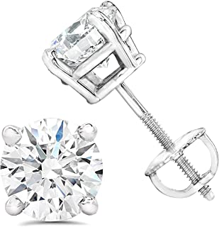 I1 clarity; I-J color FB Jewels 14kt Yellow Gold Unisex Princess Diamond Solitaire Stud Earrings 1//5 Cttw