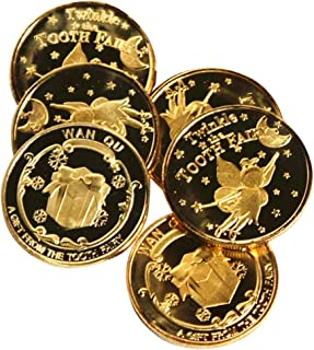 Exttlliy Zinc Alloy Novelty Tooth Fairy Gold Coin Baby Reward Golden Coins Special Fairy Money (6 Pack)