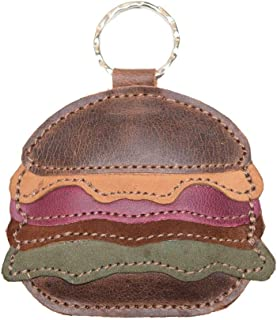 Hide & Drink, Leather Hamburger Keychain/Key Ring/Holder/Fast Food/Burger/Gifts Ideas/Accessories, Handmade Includes 101 Y...