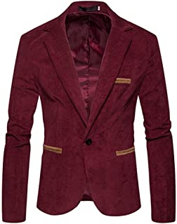 2018 Wintialy Men's Autumn Winter Casual Corduroy Slim Long Sleeve Coat Suit Jacket Blazer Top