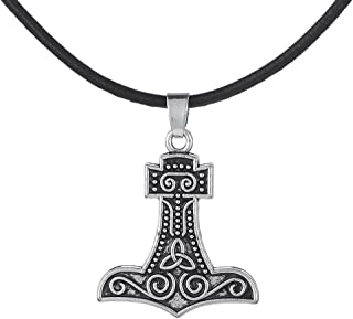 Lemegeton Thor's Hammer Mjolnir Celtic Knot Pendant Necklace Norse Religious Wax Rope Necklace