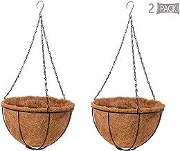 HOLADON 2 Pack Metal Hanging Planter Basket, Flowerpot Pendant, Coco Coir Liner 10 Inch Garden Decoration,Indoor Outdoor Watering Hanging Baskets, Plant Planting Hanging Basket, Garden Hanging baske