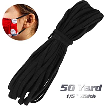 1/5 inch Elastic Mask Strap String, 50 Yards Black Stretchy Cord Securing Holder Earloop Lingerie Band, Soft Ear Tie Rope Handmade DIY Craft How to Make, Thin String (not 1/8) for Sewing Trim
