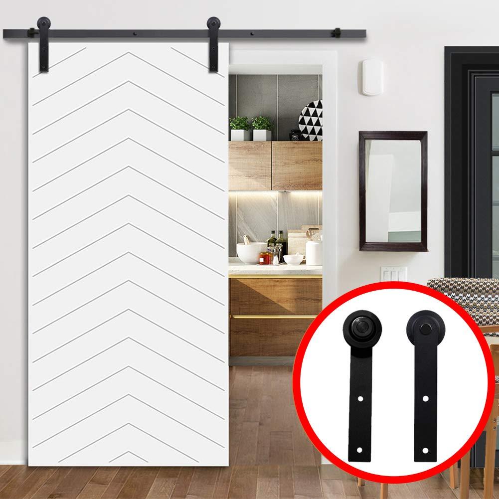 Kit de herramientas para puerta corredera de granero de 4 m, barra de acero negro para puerta de armario, para una sola puerta 27 * 4cm negro: Amazon.es: Hogar