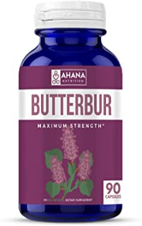 Ahana Nutrition Butterbur Capsules (PA-Free) – Natural Supplement for Headache and Migraine Relief, Supports Inflammation and The Immune System (50mg – 90ct)