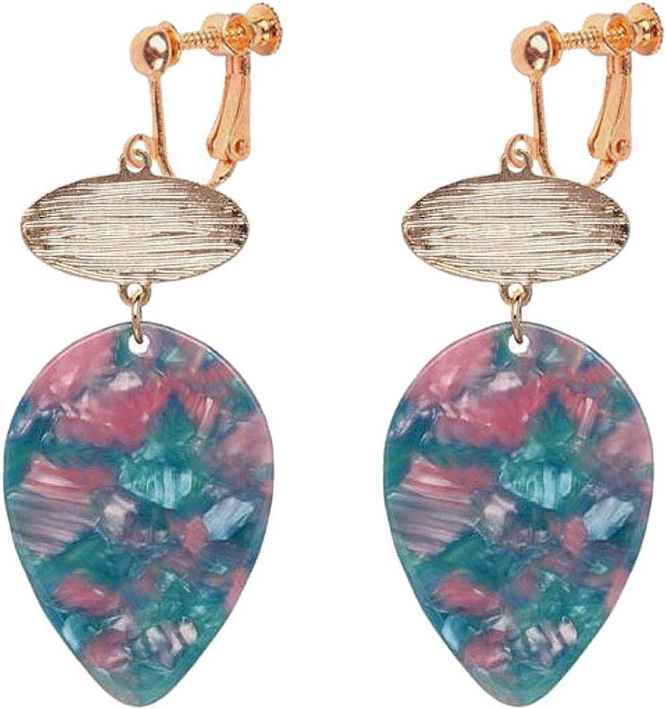 Sweet Women Girl Acrylic Statement Clip on Earrings Mottled Flower Brushed Filigree Layer Dangle