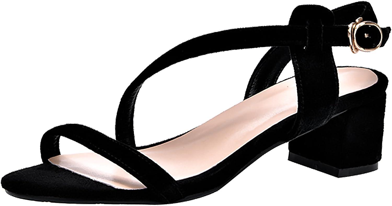Calaier Womens Salbf Open-Toe 5CM Block Heel Buckle Sandals shoes