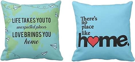 Yaya Cafe™ 24 x 24 inches No Place Like Home Home Printed Cushion Covers Set of 2 Sofa