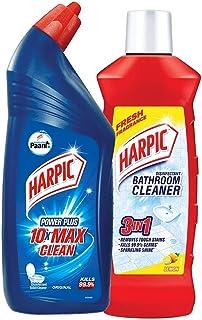 Harpic Disinfectant Toilet Cleaner Liquid, Original - 1 L With Harpic Bathroom Cleaner, Lemon - 1 L