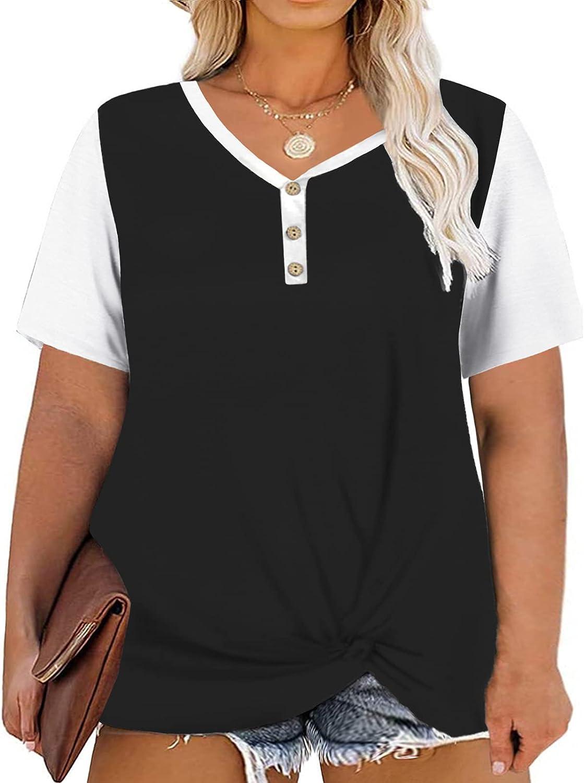 DOLNINE Plus-Size Tops for Women Short Sleeve Oversized Tunic Shirts