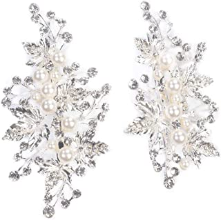 Sppry Wedding Hair Clips (2 Pcs) - Crystal Pearl Hair Accessories for Bridal Women (Silver)