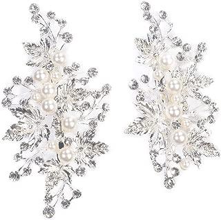 Sppry Wedding Hair Clips (2 Pcs) - Rhinestone Pearl Hair Accessories for Bridal Women (Silver)