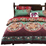 Vaulia Soft Microfiber Duvet Cover Set, Bohemia Exotic Pattern, Reversible Color Design - Queen Size